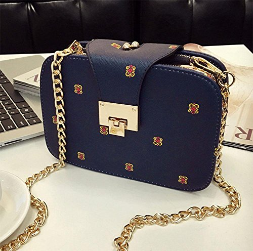 MEILI Bolsos de moda Hombro Messenger Bag Mobile Small Bag Chain Bag Small Bag Set Joker moda casual uno , meters of white deep blue