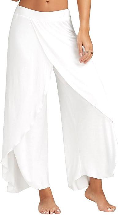 Pantalones Yoga Jogging Deportivos Mujer De Color Solido Pantalones Anchos Sueltos De Pierna Largo De Abertura Lateral Cintura Media Pantalones Palazzo Casual De Verano Amazon Es Ropa Y Accesorios