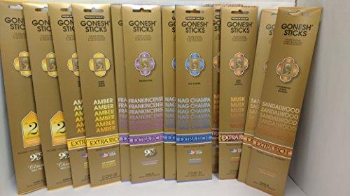 Gonesh Royal Gift 12 Pack Variety Set (Nag Champa, Sandalwood, Frankincense, Musk, Amber, #2 Perfumed with Oils and Spices. 240 sticks total) - Exotic Incense Sticks Pack