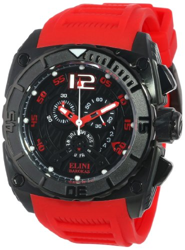 Elini Barokas Men's 17012-BB-01-RDSA Commander Black Textured Dial Red Silicone Watch - Elini Black Chronograph