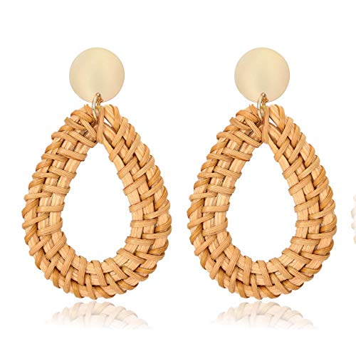Weave Straw Double Disc Drop Earrings Boho Rattan Dangle Statement Earrings (teardrop)