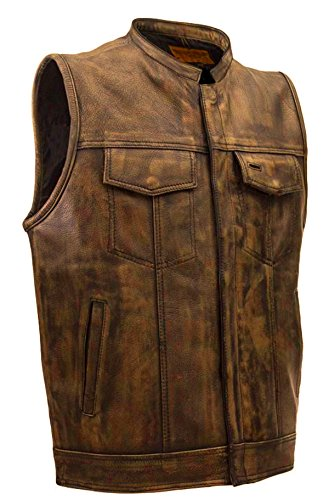 CD D C Mens SOA Style Motorcycle Biker Naked Leather Club Vest Distress Brown (Mens Distress Brown Leather)