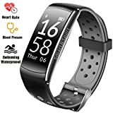Fitness Tracker IP68 Swimming Waterproof Smart Bracelet with Sleep Monitor Heart Rate Monitor Pedometer Calorie Counter Sports Watch Call ID display Touch Screen for iPhone and Android (Black + Grey)