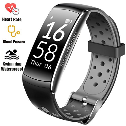 Fitness Tracker IP68 Swimming Waterproof Erudite Bracelet with Sleep Monitor Heart Rate Monitor Pedometer Calorie Counter Sports Watch Call ID exhibit Touch Screen for iPhone and Android (Black + Grey)