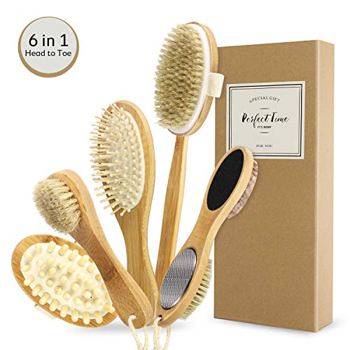 Dry Body Brushing Set - Natural Bristle Shower Brush - Remove Dead Skin & Toxins, Cellulite Treatment, Improves Lymphatic Functions, Exfoliates, Stimulates Circulation, Head to Toe Skin Glowing Set (Anti Cellulite Body Treatments Online)
