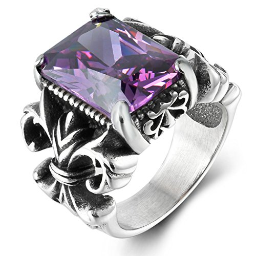 Boho Jewelry Mens Crystal Vintage Stainelss Steel Elegant Cz Ring Black Silver