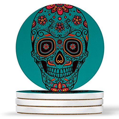 (AK Wall Art Sugar Skull Mexican Design - Round Coasters, Natural Sandstone - Set of 4)