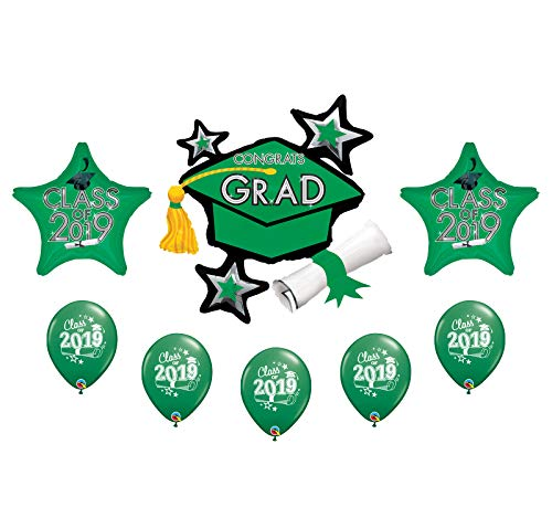 2019 Graduation Grad Cap Hat Diploma 8 Piece Mylar & Latex Party Balloons Set (Green)]()