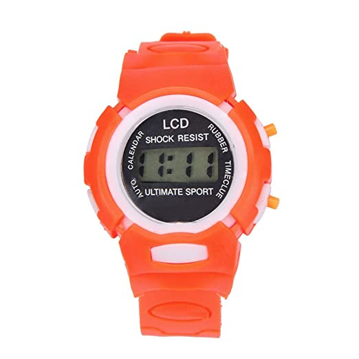 Reloj de Pulsera para niños con un diseño Exclusivo Relojes Deportivos para niños Relojes electrónicos de LCD para niños, niñas y Estudiantes (Naranja): ...