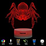 YODAFOUR Spider 3D LED Illusion Animal Night Light Lamp Birthday Anniversary Children Party Gift LED Nursery Bedside Table Desk Night Lamps Lights for Boys Baby Kid Animal Lovers Room Theme Decor by