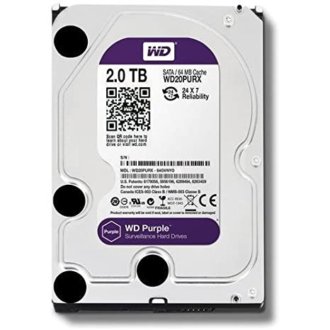 Western Digital Surveillance 2TB Internal SATA Hard Drive (Purple) SATA Hard Drives at amazon