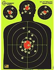 Splatterburst Targets - 18 x 24 inch - Silhouette Reactive Shooting Target - Shots Burst Bright Fluorescent Yellow Upon Impact - Gun - Rifle - Pistol - Airsoft - BB Gun - Air Rifle