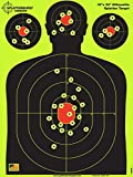 Splatterburst Targets - 18 x 24 inch - Silhouette Reactive Shooting Target - Shots Burst Bright Fluorescent Yellow Upon Impact - Gun - Rifle - Pistol - Airsoft - BB Gun - Air Rifle (10 Pack)