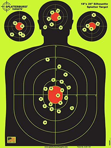 Splatterburst Targets - 18 x 24 inch - Silhouette Reactive Shooting Target - Shots Burst Bright Fluorescent Yellow Upon Impact - Gun - Rifle - Pistol - Airsoft - BB -