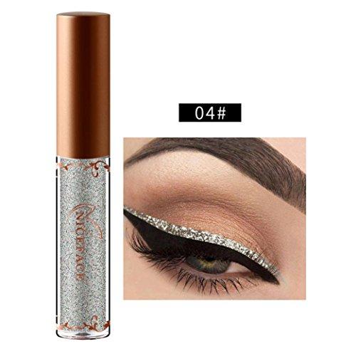 (Beauty Metallic Shiny Smoky Eyeshadow, Waterproof Glitter Liquid Eyeliner (D))
