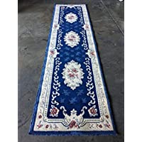 Traditional Long Aubusson Persian Runner Rug Navy Blue With Red Design 507 (31 Inch X 15 Feet 8 Inch)