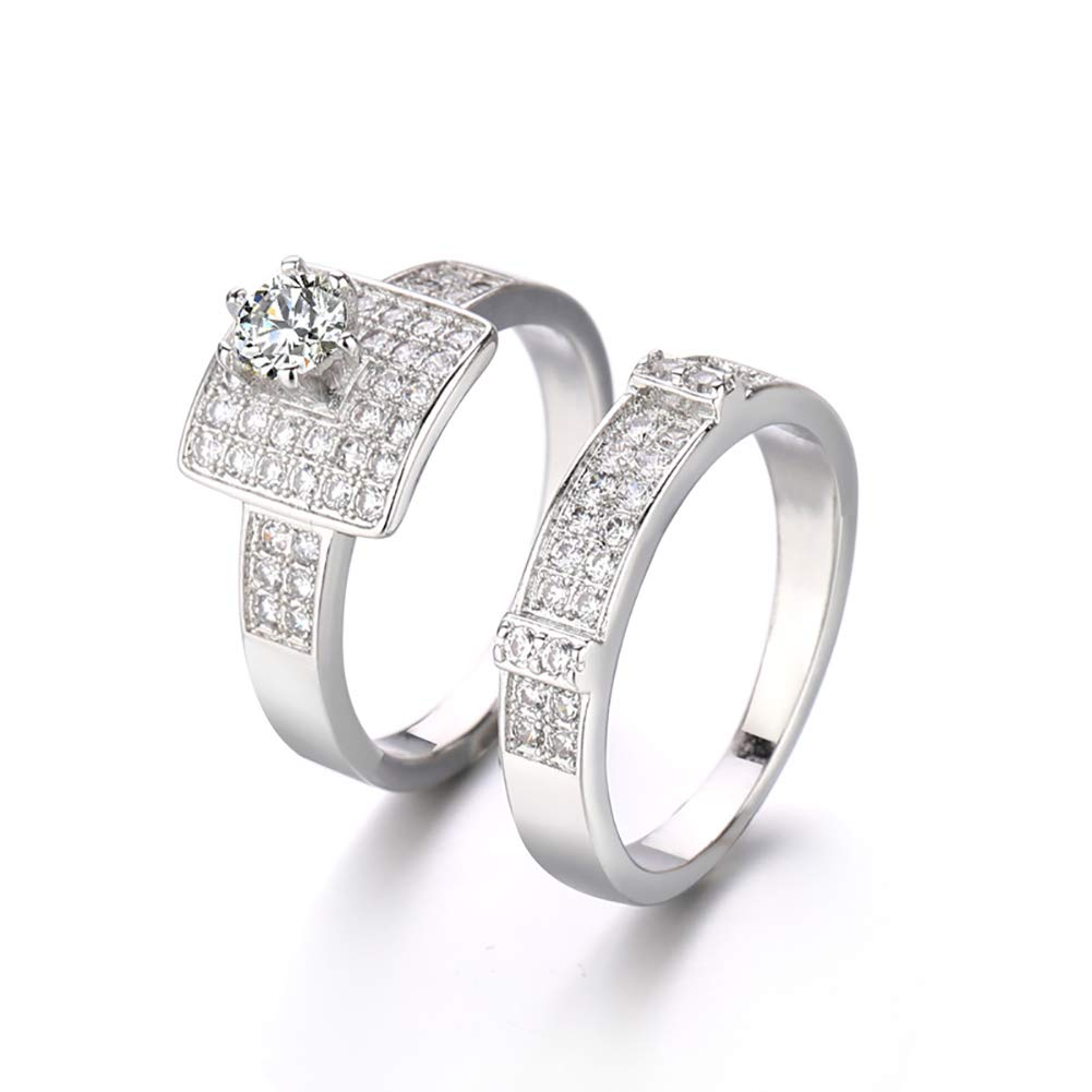 Alamana 2Pcs/Set Square Shiny Rhinestone Beauty Women Stacking Ring Bridal Party Finger Jewelry Silver US 9