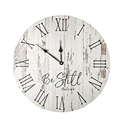Be Still Whitewash 17 x 17 Solid Wood Hanging Wall Plaque Clock