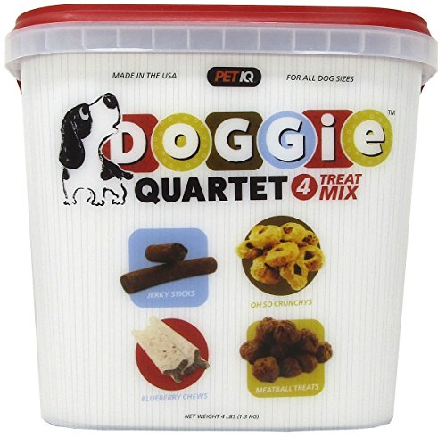 Petiq Doggie Quartet Dog Treats Mix  Variety Pack  4Lb