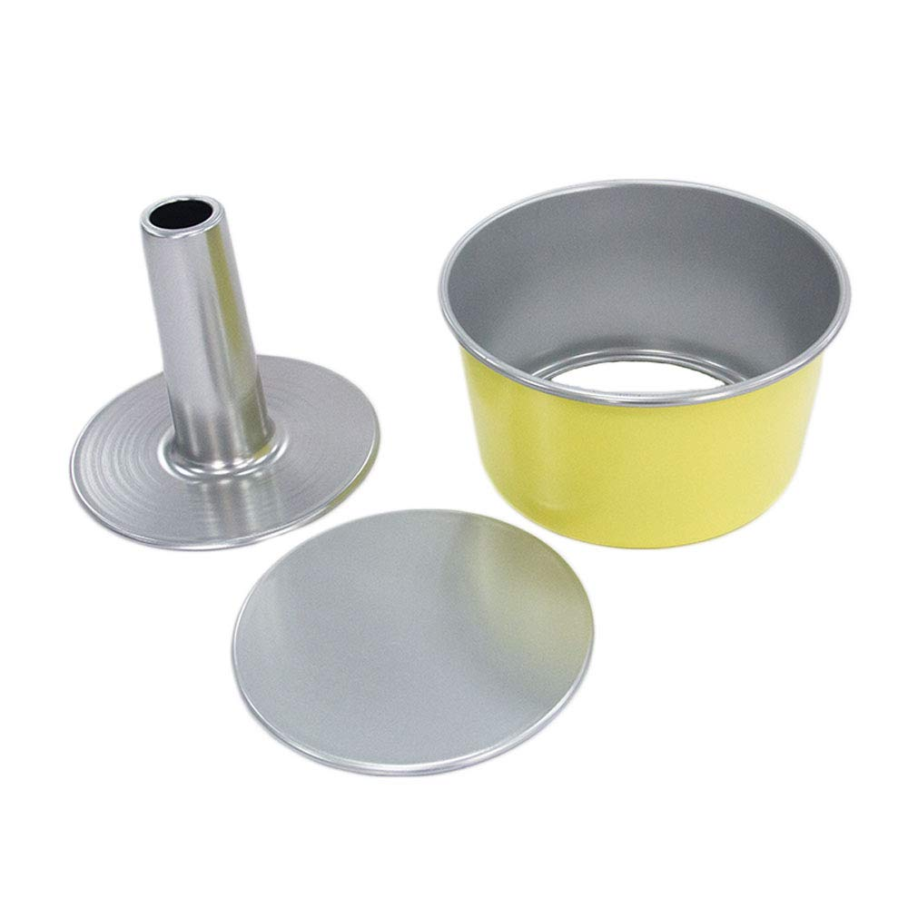 8 Inch Chiffon Cake Mold, Round Hollow Angel Food Cake Pan Donut Pan Baking Mould with Removable Bottom, Nonstick Bakeware Aluminum Alloy (20cm) - Yellow