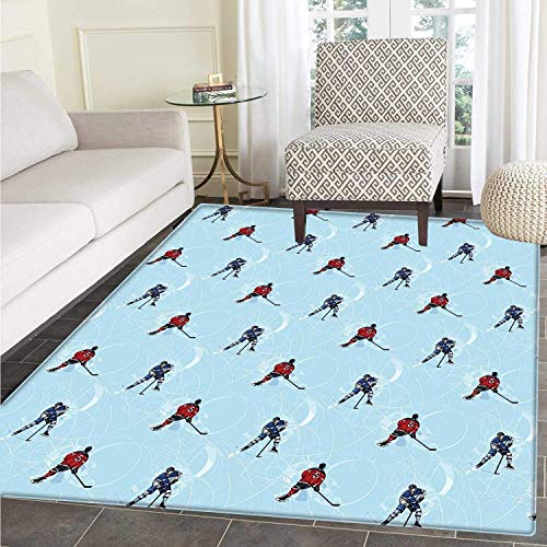 Sport Dining Room Home Bedroom Carpet Floor Mat Abstract Lines Background Ice Hockey Pattern Competitive Match Winter Season Non Slip Rug Blue Red Black