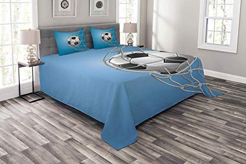 (Image Duvet Soccer Bedspread Set Twin Size, Goal Football in Net Entertainment Playing for Winning Active Lifestyle, Decorative Quilted 3 Piece Coverlet Set with 2 Pillow Shams, Blue Pale Grey Black)