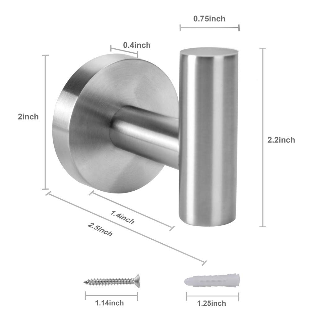 Premium Stainless Steel Coat Hooks for Hanging Up to 25lbs XIPOO 2 Pack Towel Hook Strongly Firm and Never Fall Off