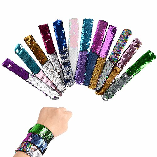 XADP 12PCS Mermaid Magic Reversible Sequin Slap Bracelet Flip Wristband Bracelet Birthday Party Favors Supplies Gifts for Girls and Boys by XADP