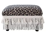 Jennifer Taylor Home 2318-655 Decorative Fiona Collection Traditional Upholstered Rayon Blend Footstool with Fringe and Trim Tassels, Multi-Colored, Brown/Beige