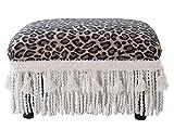 Jennifer Taylor Home 2318-655 Fiona Traditional Decorative Footstool Jennifer Taylor Collection Upholstered Rayon Blend Fringe and Trim Tassels, Multi-Colored, Brown/Beige