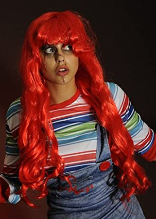 Para mujer Chucky estilo largo rojo ondulado peluca