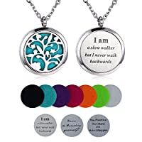 Aromatherapy Essential Oil Diffuser Necklace, Hypoallegenic Stainless Steel Locket with 23