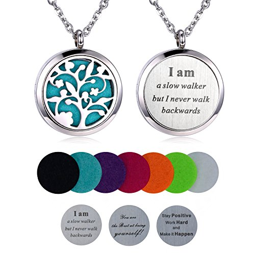 Aromatherapy-Essential-Oil-Diffuser-Necklace-Hypoallegenic-Stainless-Steel-Locket-with-23-Chain-7-Refill-Pad