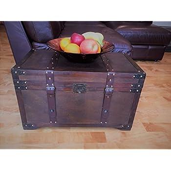 Gold Rush Steamer Trunk Wood Storage Wooden Treasure Chest   Medium Trunk