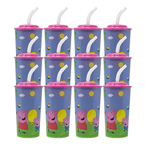 12PC PEPPA PIG 16OZ PP SPORT TUMBLER W/LID AND STRAW PARTY FAVOR SUPPLIES -