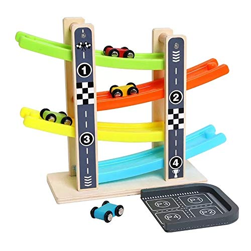 (Toddler Toys for 2 3 4 Year Old Boy And Girls Ramp Race Car Wooden Ramp Race Track Set with 4 Mini Cars for Kids Age 3 and Up)