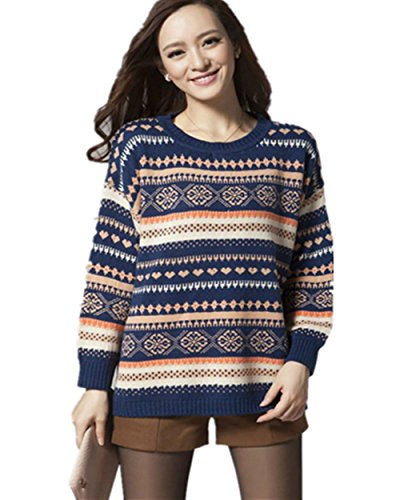 Fair Isle Heart (Superbaby Women's Tribal Pattern Fair Isle Crew Neck Loose Pullover Sweater (Blue01))