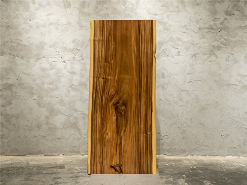 Solid Walnut Wood Slab Table With Stainless Steel Stands Highly Figure Natural (Solid Wood Slabs)