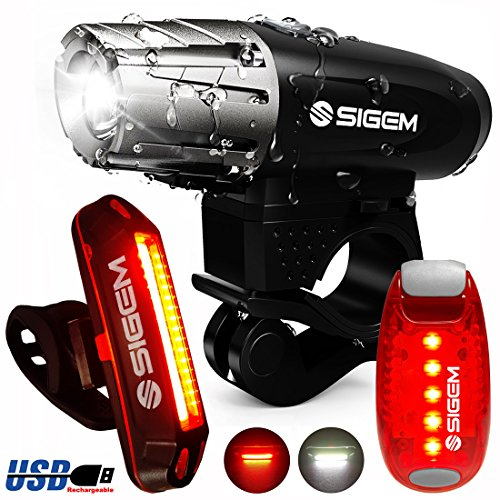SIGEM Bike Light Set, (3 Pack) Ultra Bright, USB Rechargeable, LED Front Headlight, Rear Taillight and Helmet Light. Bicycle Head & Tail Lights are Waterproof, Easy to Install. (Bike Light Set C) ()