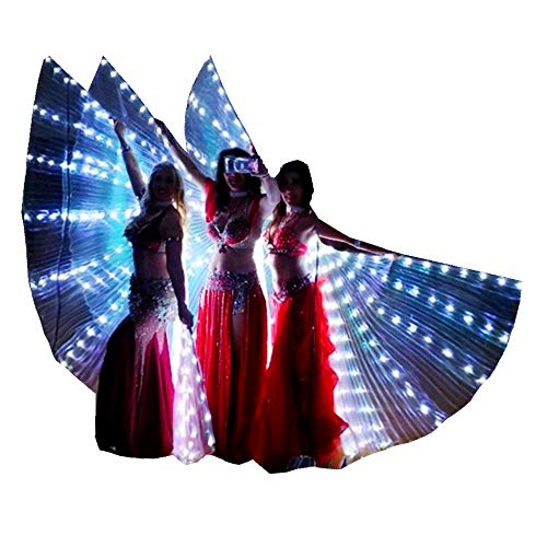 LED Isis Wings Glow Light Up Belly Dance Costumes with Sticks Performance Clothing Carnival Halloween White -