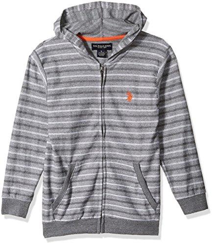 U.S. Polo Assn. Little Boys' Long Sleeve Fleece Hoodie, Light Weight Stripes Medium Grey, ()