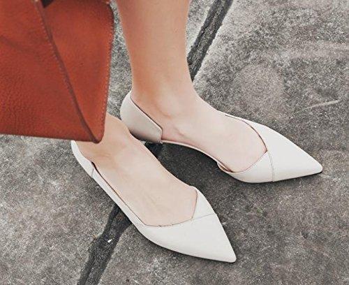 Transpirable con mujer beige baja elegante 4cm con punta AJUNR 36 solo Zapatos Delgado Sandalias Liviano 36 zapatos Moda de dulce tonos xqAO4Bgw