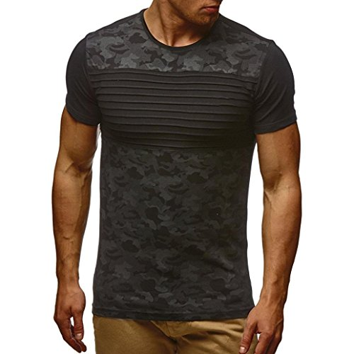 Realdo Men's Striped Camouflage T-Shirt, Slim Fit O Neck Short Sleeve Muscle Tops Shirts(Black,Medium (Capris Ll Bean)