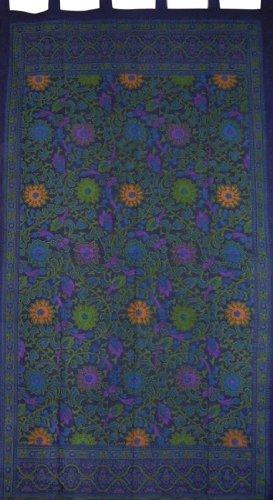 "Sunflower Print Tab Top Curtain Drape Panel Cotton 44"" x 88"" Blue"