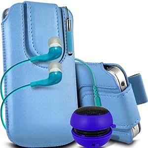 ONX3 ZTE Blade Q Mini Leather Slip protectora magnética de la PU de cordón en la bolsa del lanzamiento rápido con Mini capacitivo Retractabletylus Pen, 3.5mm en auriculares del oído, Mini Altavoz Cápsula recargable (Baby Blue)