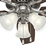 Hunter Indoor Ceiling Fan, with pull chain control - Builder Plus 52 inch, Brushed Nickel, 53237 25 Designed for large rooms up to 485 square feet and equipped with Installer's Choice 3 position mounting system for standard Can be installed with or without 180 watt three light fixture (3 60 watt candelabra bulbs included).An excellent choice for use in the home or office Whisper wind motor. Reversible motor allows you to change the direction of your fan from downdraft mode during the summer to updraft mode during the winter Exclusive Hunter motor technology and hanging system that ensure your fan will remain quiet for Life and wobble free. For indoor use only, Installer's Choice three position mounting system allows for standard, low or angled mounting