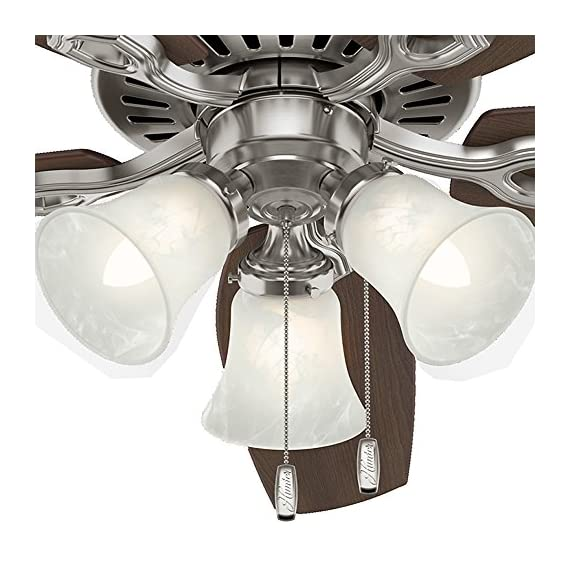 Hunter Indoor Ceiling Fan, with pull chain control - Builder Plus 52 inch, Brushed Nickel, 53237 11 Designed for large rooms up to 485 square feet and equipped with Installer's Choice 3 position mounting system for standard Can be installed with or without 180 watt three light fixture (3 60 watt candelabra bulbs included).An excellent choice for use in the home or office Whisper wind motor. Reversible motor allows you to change the direction of your fan from downdraft mode during the summer to updraft mode during the winter Exclusive Hunter motor technology and hanging system that ensure your fan will remain quiet for Life and wobble free. For indoor use only, Installer's Choice three position mounting system allows for standard, low or angled mounting