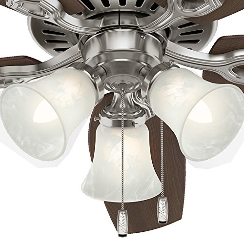 Hunter 53237 Builder Plus 52-Inch Ceiling Fan with Five Brazilian Cherry/Harvest Mahogany Blades and Swirled Marble Glass Light Kit, Brushed Nickel by Hunter Fan Company (Image #10)