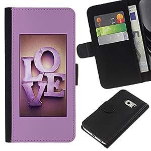 WINCASE ( No Para Normal S6 ) Cuadro Funda Voltear Cuero Ranura Tarjetas TPU Carcasas Protectora Cover Case Para Samsung Galaxy S6 EDGE - el amor de color rosa letras de texto púrpura miel pareja