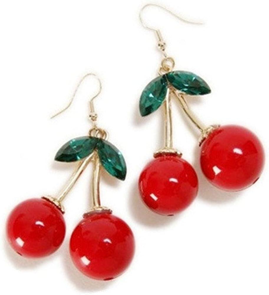 Pendientes colgantes chapados en oro de 18 quilates con diseño de cereza, color rojo y verde con hoja de cristal para mujer